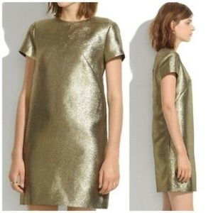 Madewell Gold Shimmer Mini Dress